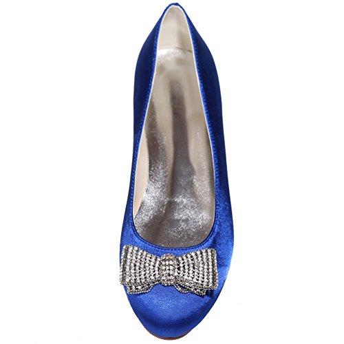 LOSLANDIFEN Womens Satin Flats Rhinestones Bow Low Heels Wedding Shoes Blue/9872-25 eZwoW8syW