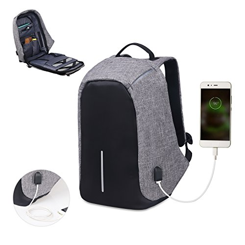 Waterproof Computer (Water Resistant Laptop Backpack , Lightweight computer backpack with USB Charging Port large capacity for travel,business)