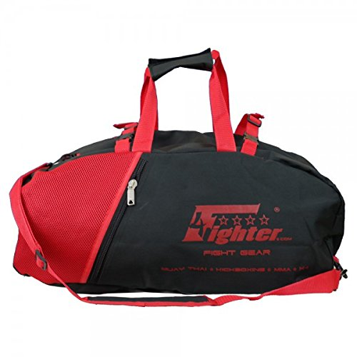 4Fighter Mesh Gymbag Trainingstasche mit Rucksack schwarz-rot Duffelbag Backpack 60cm x 30cm x 30cm