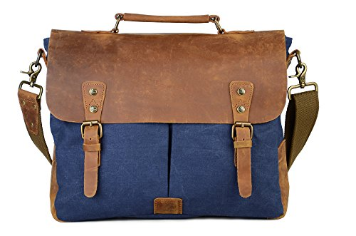 Gootium Canvas Leather Messenger Bag - Vintage Briefcase 15.6
