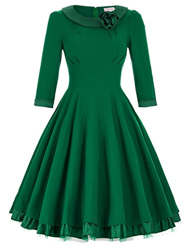 Belle-Poque-Womens-34-Sleeve-Pleated-Swing-Vintage-Cocktail-Dresses