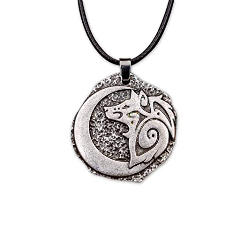 - HAQUIL Wolf Jewelry Young Wolf and Moon Necklace for Men for Women