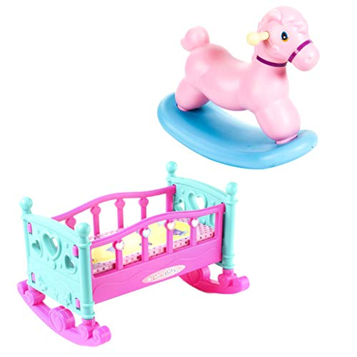 CUTICATE Baby Doll House Furniture Pink Rocking Horse and Rocking Cradle Set for Nursery Room Decoration Accessory (Rocking Horse Accessories)