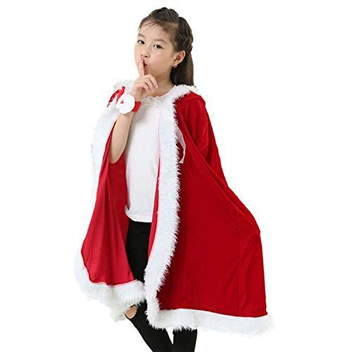 Dahen Santa Cloak Christmas Costumes Santa Claus Xmas Red Velvet Hooded -