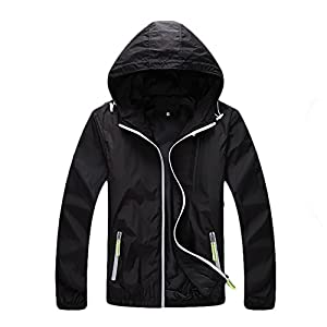 InMoo Women's Super Lightweight Jacket Quick Dry Windbreaker UV Protect Coat Black Medium