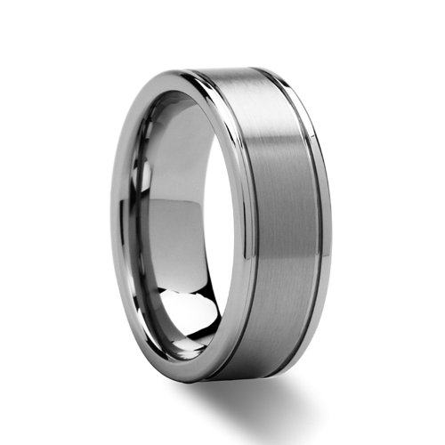 BRIDGEPORT Flat Satin Finish Tungsten Carbide Ring - 8mm - FREE Engraving, FREE Expedited Shipping & (Bridgeport Finish)