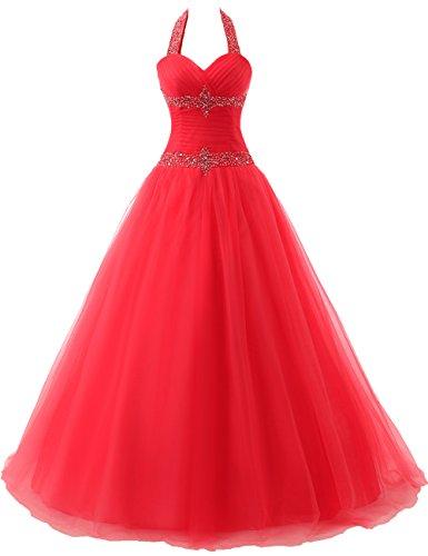 Tüll Quinceanera Rot Damen Neckholder A Kleid Festkleider Ballkleider Linie Lang Abendkleider 7q5vP8v