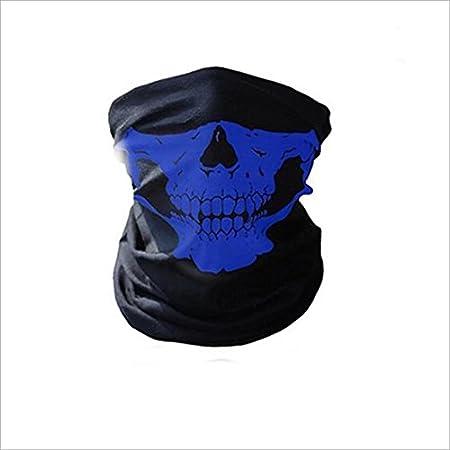 RICISUNG Skull Tubular Protective Dust Mask Bandana Motorcycle Polyester Scarf Face Neck Warmer for Snowboard Skiing Motorcycle Biking (red)