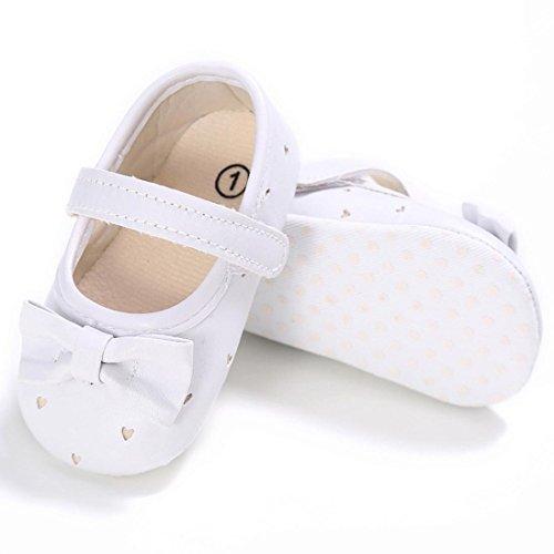 Saingace Kleinkind Mädchen Krippe Schuhe Neugeborene Blume Soft Sohle Anti-Rutsch Baby Sneakers Weiß