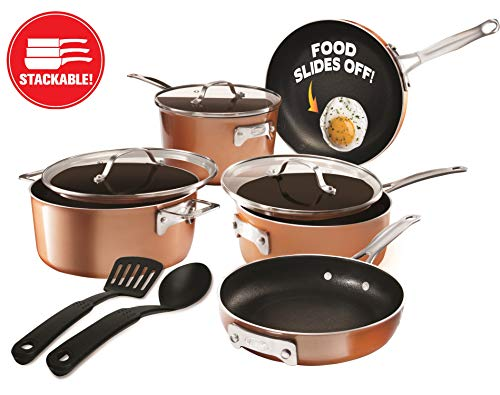 Gotham Steel Stackable Pots and Pans Set - Stackmaster 10 Piece Cookware Set with Ultra Nonstick Cast Texture Ceramic Coating, Saves 30% Space, Sauce Pans, Stock Pots, Skillets & More -Dishwasher Safe