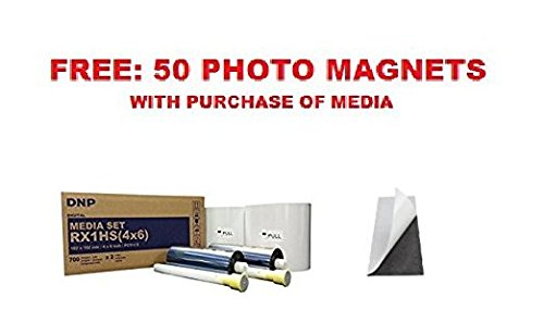 DNP Print Media 4x6'' for DS-RX1HS Printer - Paper & Ribbon (1400 Total Prints) WITH 50 SELF-ADHESIVE PHOTO BOOTH MAGNETS SIZE 2x6'' (this media kit works with both DNP RX1 and RX1HS printers).