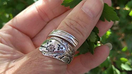 cutlery wishes dandelion ring hand stamped wish Silver Spoon Ring re-purposed silverware hippie jewelry