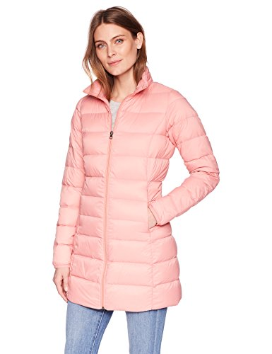 3/4 Quilted Down Coat - Amazon Essentials Women's Lightweight Water-Resistant Packable Down Coat, Rose Blush, Medium