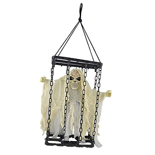 SM SunniMix Sound Control Scary Animated Hanging Skeleton Ghost Prisoner Halloween Horror Props Halloween Decorations - White]()
