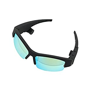allimity Sunglasses Bone Conduction Headphones Open Ear Wireless Bluetooth Stereo Car Earphones with Mic for Smartphones Tablets Driving Cycling(Blackish Green)