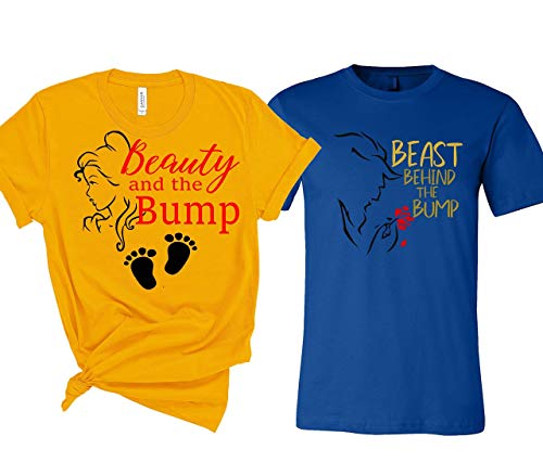 Beauty and the Beast Couple Maternity T-Shirts Bump Dad and Mom Maternity Shirts New Baby Announcement Pregnancy T-Shirt (Beauty And The Beast T Shirts For Adults)