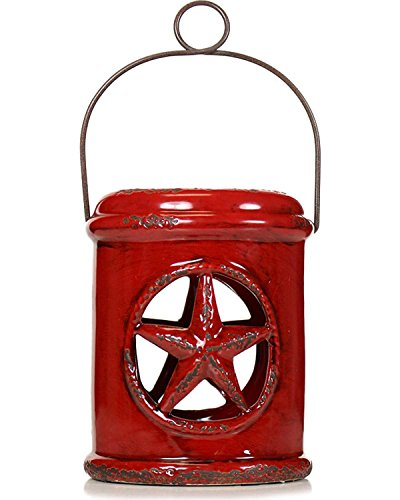 Stonebriar Small Red Ceramic Western Star Hurricane Candle Lantern with Metal Handle, For Table Top, Mantle, or Wall Hanging Display, Indoor & Outdoor Use - Collection Small Hanging Lantern
