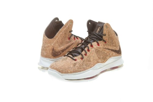 Nike Mens Lebron X EXT Cork QS Classic Brown Synthetic Basketball Shoes Size 10.5