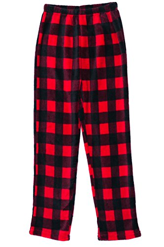 h Pajama Pants - Fleece PJs for Boys, Red - Buffalo Plaid, Boys' 7 (Youth Girls Mode Pants)