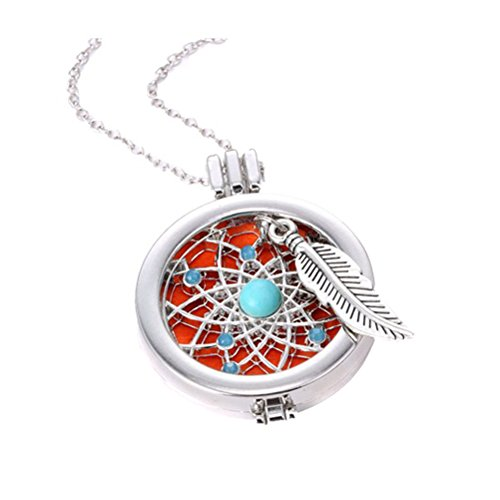 RAGAN Dreamcatcher Aromatherapy Essential Oils Necklace,Diffusser Hollow Locket Pendant Angel Wing Charms Jewelry-35MM - Jerry Turquoise Necklace