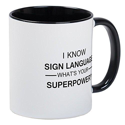 CafePress I Know Sign Language (Black) Mugs Unique Coffee Mug, Coffee Cup