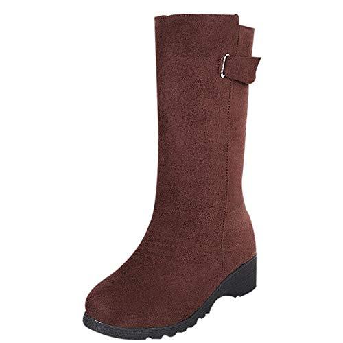 Femmes Au Hiver Femme Pour Chaud Milieu Neige Bottes Marron Manadlian Zipper De Bottines Chaussures Plates Boots Dames R0SfZwz