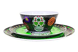 Sugar Skull Day of the Dead Green Plate Set