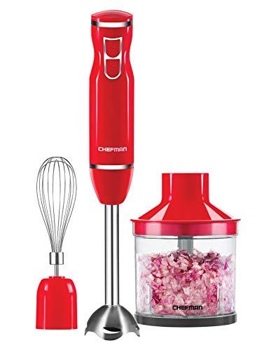Chefman Immersion Blender Stainless Steel Shaft with Whisk and Chopper Bonus Pack Attachments – 300 Watt Hand Blender, Ice Crushing Blades, RJ19-V2-BP-Red For Sale