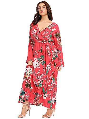 Milumia Women Plus Size Maxi Floor Length Wrap Bell Sleeves Vintage Dress Red 2X (Vintage Plus Size Clothing)