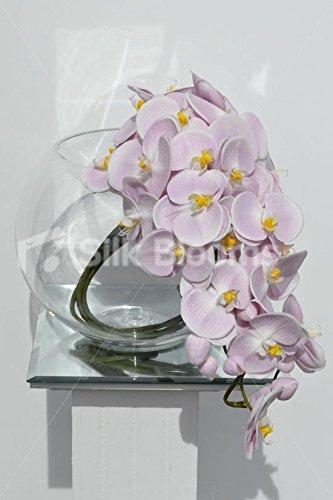 Gorgeous artificial Fresh Touch rosa orquídea arreglo Floral en cascada con pecera jarrón: Amazon.es: Hogar