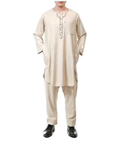 SportsX Men Middle East Long-Sleeve 2pcs Set Muslim Salwar Suit Sets Beige 56 by SportsX