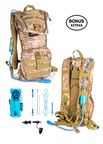 Lion Gear Insulated Hydration Survival Backpack with 2L Water Bladder with Filter - Heavy Duty, Waterproof, Weather Resistant, Extra Storage - Military, Outdoor, Backcountry Camo Assault Rucksack by Lion Gear