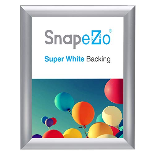 SnapeZo Photo Frame 8x10 Inches, Silver 1 Inch Aluminum Profile, Front-Loading Snap Frame, Wall Mounting, Sleek Series