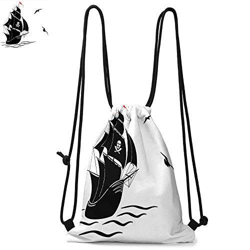 Pirate Made of polyester fabric Silhouette of Old Sail Pirate Ship Flying Seagulls Ocean Waves Jolly Roger Waterproof drawstring backpack W13.8 x L17.7 Inch Black White Red