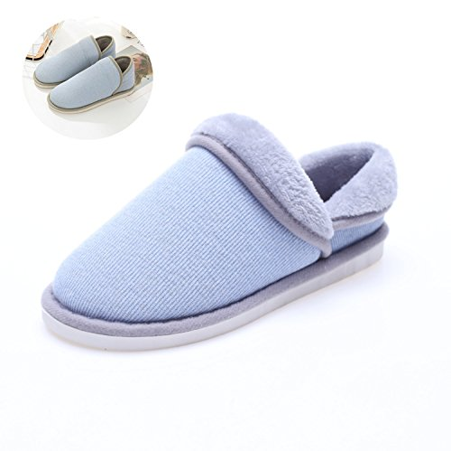 Indoor Mens Home Sole Cotton Plush Slip Warm Outdoor TQGOLD Booties Anti Soft Office Womens Knit Blue Slippers f4zIqd
