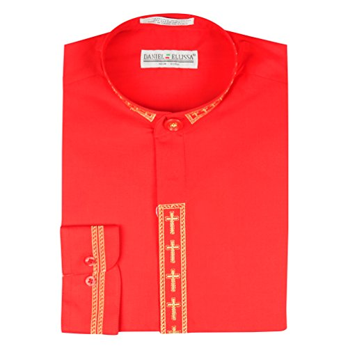 Daniel Ellissa Mens Clerical Clergy Shirt Long Sleeve Collarless Cross Placket (19.5 36/37 - XXXL, Red/Gold) (Clerical Clothing)