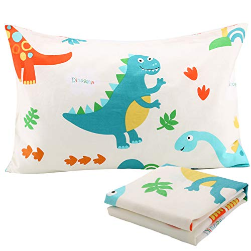 Toddler Travel Dinosaur Pillowcases Set of 2 - Fits Pillows sizesd 13 x 18 or 12x 16 for Kids Bedding - Toddlers, Kids, Infant - Perfect for Nursery,Toddler cot,Bed Set Tyrannosaurus Rex