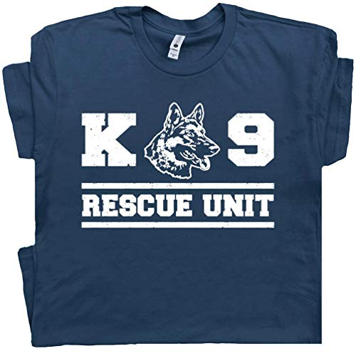 - XL - K9 Rescue Dog T Shirt Military Shirts Unit Police Handler Fireman German Shepherd Tee Mens Womens Graphic Blue