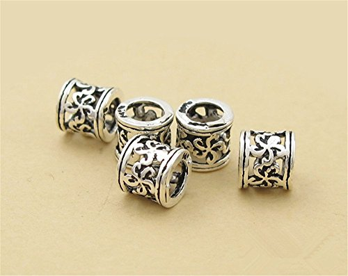 10pcs Thai Sterling Silver Plum Flower Openwork Large Hole Tube Beads 925 Thai Silver Tube Spacers 5.5mm5.5mm (Thai Sterling Silver Flower)