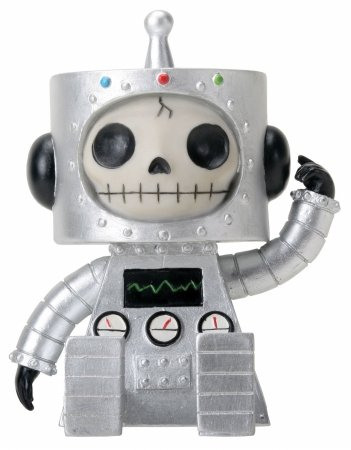 Sitting Furrybones Chip Robot Skull Face in Full Costume with Hood