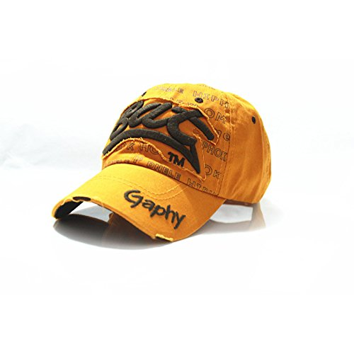 New fashion casual bat baseball cap cotton Letter snapback hats cap golf hats hip hop fitted cheap polo hats for men women (Yellow Color/Coffee Logo)