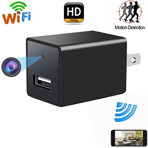 Wifi Hidden Spy Camera , USB Wall Charger Adapter Cam-1080P HD Nanny Camera-Motion Detection-Remote Live Video Viewing-For Home Security(Travel Adapter Included)