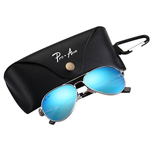 Pro Acme Small Polarized Aviator Sunglasses for Adult Small Face and Junior,52mm (Silver Frame/Blue Mirrored Lens) (Snap Blue Transparent)