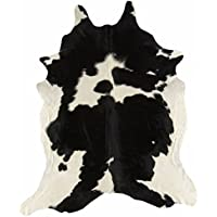 Cow Hide Rug Black and White Cloudy Holstein