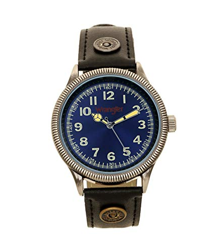 Wrangler Men's Watch, 40mm Antique Silver Case, Second Hand, Blue Face, Black PU Band - Antique Mens Watch