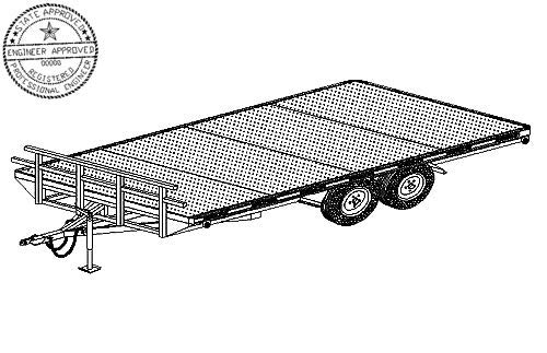 5216 Trailer Plan - 102'' x 16' Tandem Axle 7K or 10.4K Flatbed Deckover Trailer DIY How-to Blueprint by Master Plans & Design
