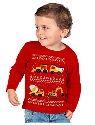Tractors Bulldozers Ugly Christmas Sweater Style Boys Kid Long Sleeve T-Shirt 4T Red (Boys Ugly Christmas Sweater)