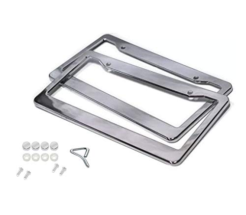 (BLVD 2PCS CHROME STAINLESS STEEL METAL LICENSE PLATE FRAME TAG COVER WITH SCREW CAPS)