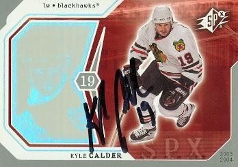(Kyle Calder autographed Hockey Card (Chicago Blackhawks) 2003 Upper Deck SPX #20 - Autographed Hockey)