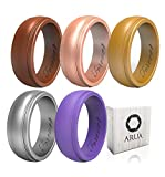 Arua Silicone Wedding Ring for Women 5-Pack | 5 Metallic Womens Wedding Bands | Gift Box Included | Comfortable Rubber Rings for Women | Bronze, Gold, Rose, Silver, Purple For Sale